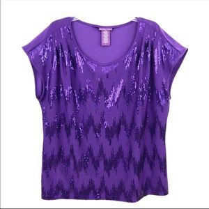 Beverly Drive Purple Sequin Blouse Top